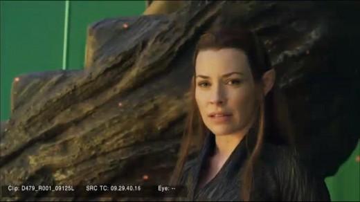"""Imagen de Evangeline Lilly en rodaje de """"El Hobbit""""."""