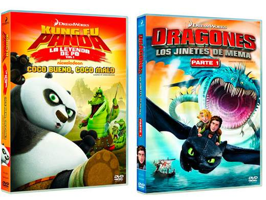 """Carátulas """"Dragones, los Jinetes de Mema Parte 1"""" y """"Kung Fu Panda: La leyenda de Po. Volumen 1""""."""